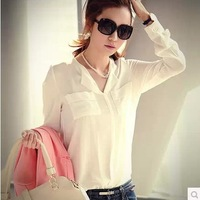 Qct 2014 spring autumn and winter women loose casual basic long-sleeve chiffon shirt top shirt