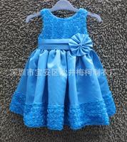 Retail 2015 new design girl rose chiffon pleated dress bowknot dress kids dress tutu cake Free Shipping