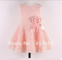 Hot sale 2014New Summer children clothing,baby girls korean princess dress,kids lace/bow flower party costumes,suit 2-7Y child