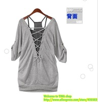 Free shipping Plus size women clothing 2013 spring and autumn casual loose twinset half sleeve t-shirt top big size L-3XL NA012