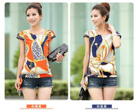 Vintage Women's Chiffon Short Sleeve Casual Printed T-shirt Top Blouse M/L/XL