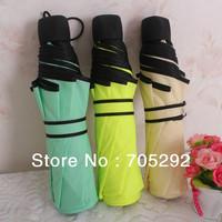 Free Shipping High Quality 9 Colors Fashion 3-Fold Umbrella Rain 100% Polyester Solid Colors Umbrellas