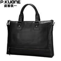 Male leather briefcase genuine leather man bag commercial handbag cross-body bag male casual shoulder bag