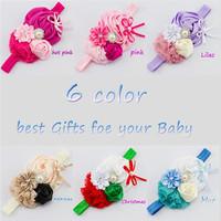 Baby Girl Christmas Gifts Rosette Satin Rose Flower Headband Shabby Chic Vintage Headband Rhinestone Pearl Button XM-29