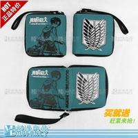High quality anime Attack on Titan cShingeki no Kyojin coin bag pocket allen zipper purse two fold wallet