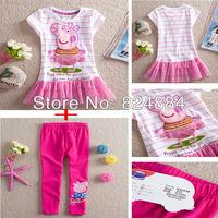 New 2014 peppa pig cute dress peppa pig girls clothing sets kids pajama sets 2pcs/lot =1PCS dress + 1pcs Trousers