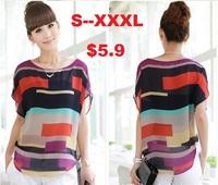 S -XXXL Women Striped chiffon blouses color print shirts lady fashion plus Loose Short Sleeve casual tops blouse Freeshiping