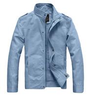2014 Spring Autumn New Fashion Men 100% Cotton Jacket Casual Slim Fit Coat Brand Famous Outerwear M-XXXL Plus Size High Quality