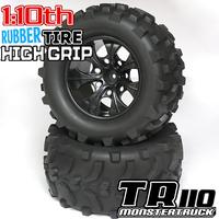 High grip 1:10 rc monster truck car tires off road tires 12mm Hub 4PCS Wheel Rim & Tires foam insert tires rubber made