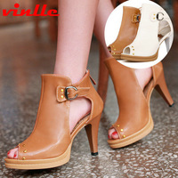 VINLLE 2014 New Arrival Fashion Women Pumps Sexy Open Toe High Heels Lady sandals women's Pumps Wedding Party Shoes size 34-39