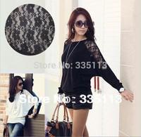 M-4XL 6 Plus Sizes 2014 Hot Sale Black/White Fashion Women Femininas Long Sleeve Batwing Dolman Lace Casual Blouse Shirt