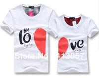 Retail - Free shipping 2014 New Korean couples dress summer T-shirt men & women heart LOVE printing couple of lovers t-shirt,