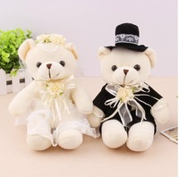 20 cm(7.9 inch) plush lovers  teddy bear toy sitting bears lovers in wedding dress, 1 pair/lot stuffed bear toy for wedding gift