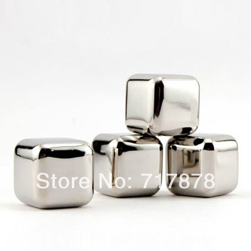 10 pcs/lot Stainless Steel Whiskey Stones Ice Cubes Soapstone Glacier Cooler Stone Free shipping(China (Mainland))