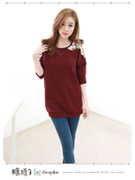 2014 spring new Korean version of casual women's lace long-sleeved T-shirt long-sleeved t-shirt, shirt stitching