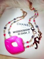 new arrival sexy lip pendant with crystal letter chain necklace free shipping