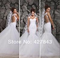 Sexy Spaghetti Strap Lace Mermaid Wedding Dress 2014 with Detachable Train Backless Bridal Wedding Gown vestido de noiva
