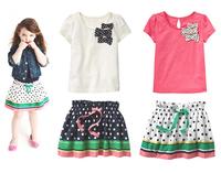 Hot sale 2014 summer girl dress set toddler girl cotton clothing suit white/rosy t-shirt + polka dot skirt kids cute dress set