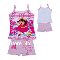 Wholesale kids Pajamas set dora 2-pcs Top and pant pink sun top girls sleeveless shirt summer bubbles sleep set(3-10t)12sets/lot