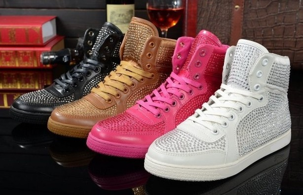 2014 spring new Fluorescent candy colored diamond leather high-top women hip-hop shoes white black brown pink size 41(China (Mainland))