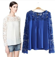 New 2014 Fashion Ladies' elegant sexy Lace sleeve chiffon blouse vintage shirt hollow out knitted shoulder tops 4 colors S-XL