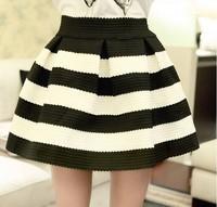 New 2014 Sweety Womens Girls Mini Retro Flared Black and white stripe Skirt Sales Free shipping!
