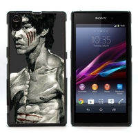 New Aluminum Metal Plate Hard Plastic Shell Cover Bruce Lee Case for Sony Xperia Z1 L39h Retail Free Shipping L39h-515