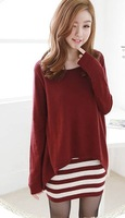 new 2014  Korean Women stripe fake two loose, plus size t shirt women ,  long sleeve t shirt