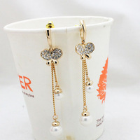 Pearl earrings fashion butterfly full rhinestone earrings pearl pendant