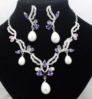 Fashion luxury full rhinestone pearl necklace set accessories chain sets pearl pendant elegant