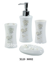 Fashion Special Designed 4PCS Ceramic Bathroom Accessory Soap Dispenser Tumbler Soap Dish Toothbrush Holder MF-371