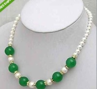 charming green jade and white pearl necklace 7-8mm YU56