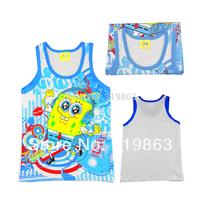 wholesales white blue summer vest yellow sponge boys Camisoles boys tank sleeveless shirt(3T-10T) 12pcs/lot