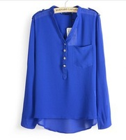 new 2014 Chiffon Women Blouses Shirts Spring V-neck Elegant Casual Foldable Sleeves White Blue Black s/m/l Tops