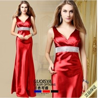 Women Gown Dress Black Red sexy evening Full Long  Dresses Vintage Style Free Shipping