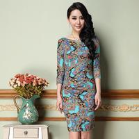 2014 New Plus Size Fashion Designer Printing Famous Europe Slim Women's Dresses Clothing M-3XL
