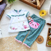 Spring and autumn summer cartoon baby clothes set cardigan t-shirt top trousers female child set children's clothing fashion