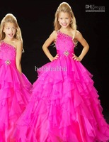 Lovely One-shoulder Ballo Gowns Flower Girl Dresses Aipper Floor Length Organza Beading Cheap Girl's Pageant Dresses