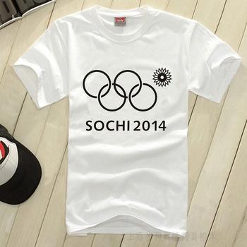 Мужская футболка с эмблемой олимпийских игр в Сочи, с нераскрывшимся кольцом.