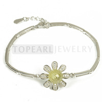 Topearl Jewelry 925 Silver Flower 8mm Light Yellow Cubic Zirconia Bracelet 9SB01