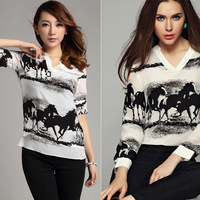 New! Stylish Ink Painting Horse Pattern Imitated Silk Fabric Shirts Tops Long Sleeve V Neck Lady's Casual Tops Free CPAM 112612
