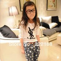 Retail 2014 Fashion Baby Girls T-shirts Children's Clothing Child Tops Cotton Kids O-neck Tee Cheap Free Shipping