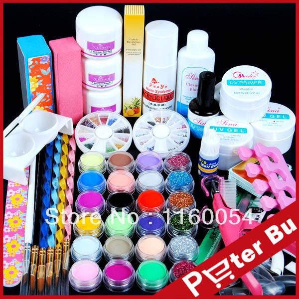 24 color Acrylic Powder Glitter acrylic Liquid Nail Art Kit UV gel primer Tools nail art 301set(China (Mainland))