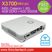 In Stock Mini Desktop PCS HTPC Celeron C1037U CPU Dual Core 1.8Ghz With PXE Diskless Boot HDMI VGA WIFI 150Mbps 4GB RAM 500G HDD