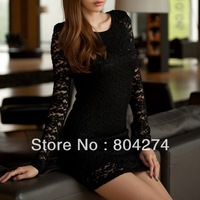 Autumn and Winter Lace Slim Sexy Hip Pack Hollow Long Sleeved Dress
