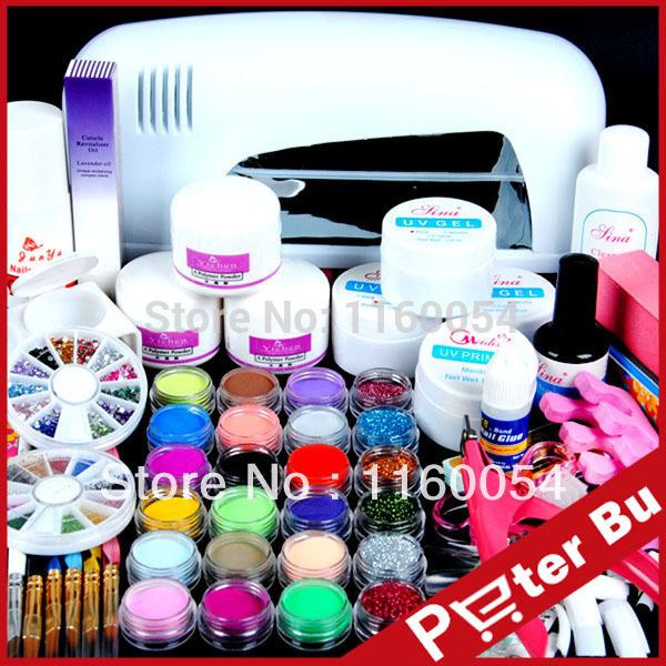 9W UV white dryer lamp 18 color Acrylic Powder rhinestones UV GEL Nail Art Kit gel tools Set 303 set(China (Mainland))