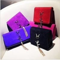 2013 autumn and winter candy color metal chain tassel small messenger bag nubuck leather all-match elegant one shoulder small