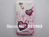 Sample Retail  Butterfly Flower Heart Zebra Flag Star TPU Rubber Soft Cover Case For Sony Xperia M C1904 C1905