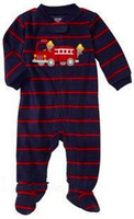 Brand Carter's Baby boy's Striped train fleece jumpsuit bebe sleep & play