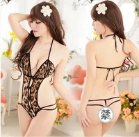 Leopard sexy lingerie chest a sexy tight-fitting uniforms temptation to open files suit three-transparent perspective Cardigan